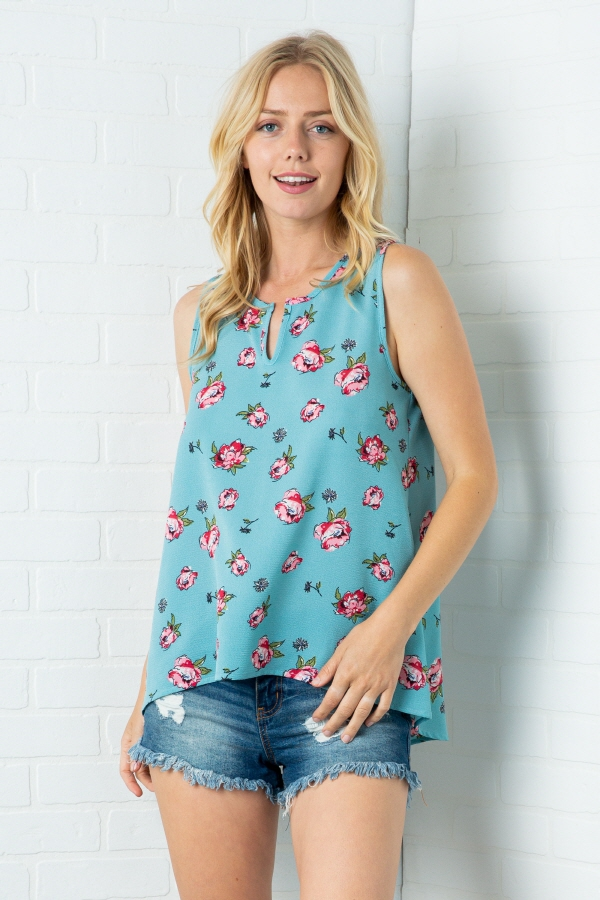 FLORAL SLEEVELESS TOP - orangeshine.com