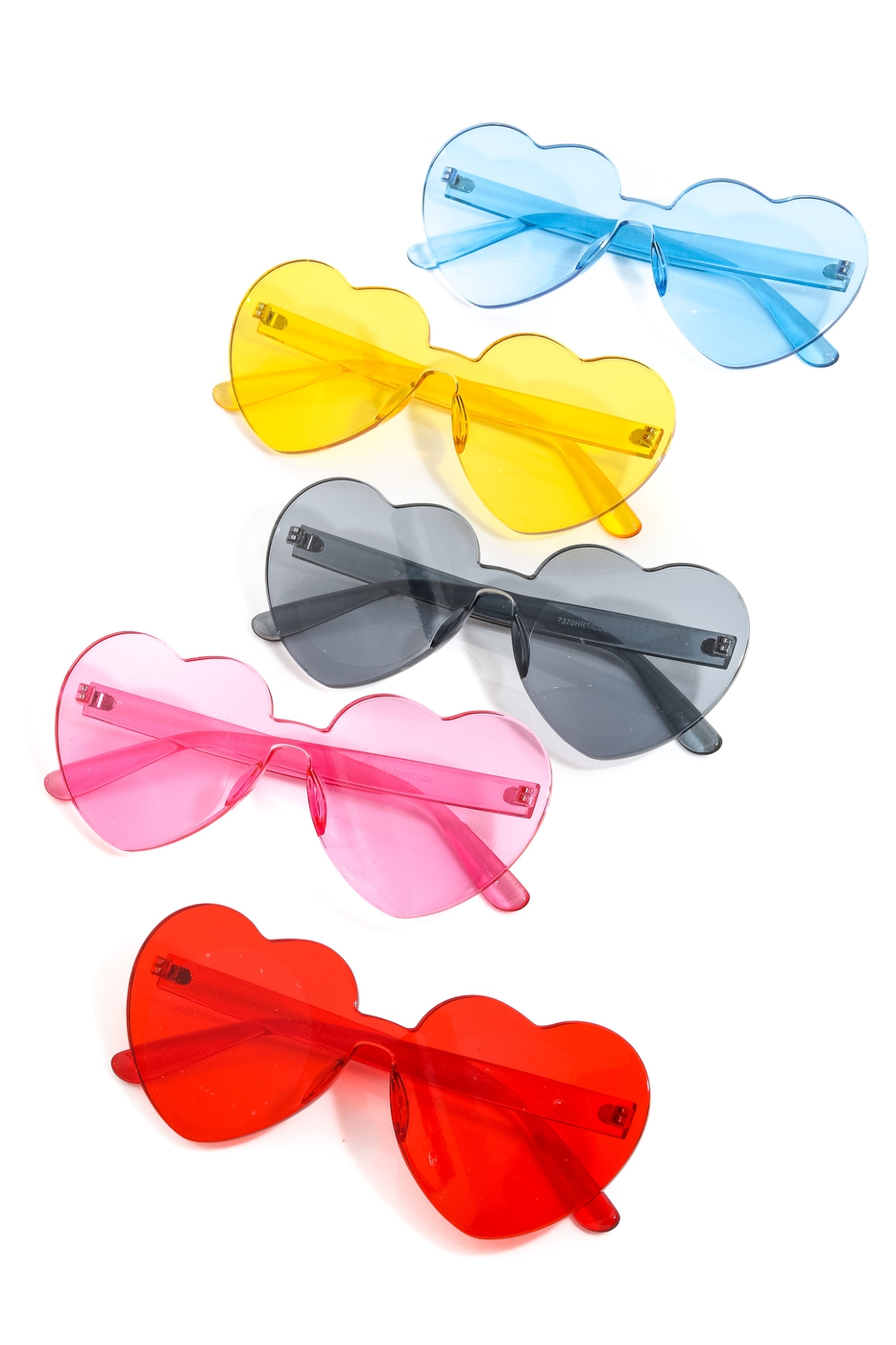 Clear Rimless Heart Shape Sunglasses - orangeshine.com