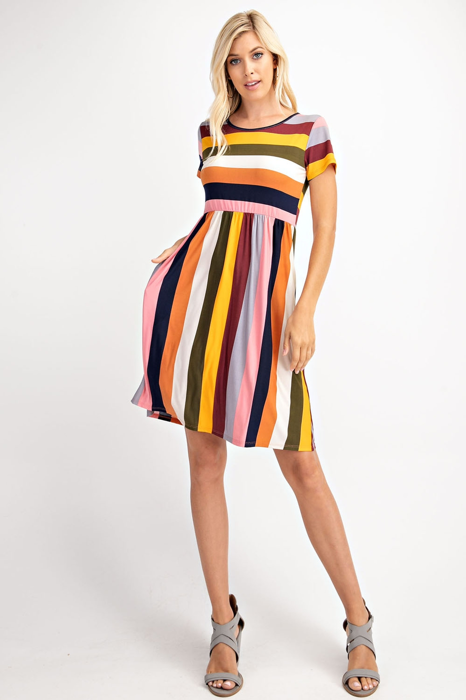 MULTI COLOR STRIPE FLARE KNIT DRESS - orangeshine.com