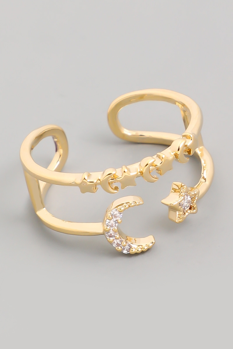 Moon And Star Double Band Ring - orangeshine.com