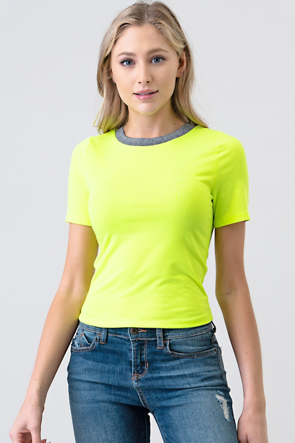 TWO TONE RIB BAND NECK SHORT TOP - orangeshine.com