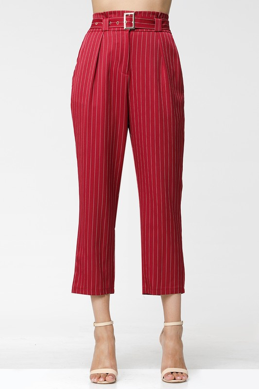 Striped Woven Pleated Straight Pants - orangeshine.com