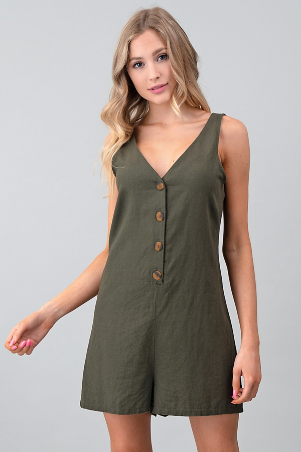 BUTTON DOWN LINEN ROMPER - orangeshine.com