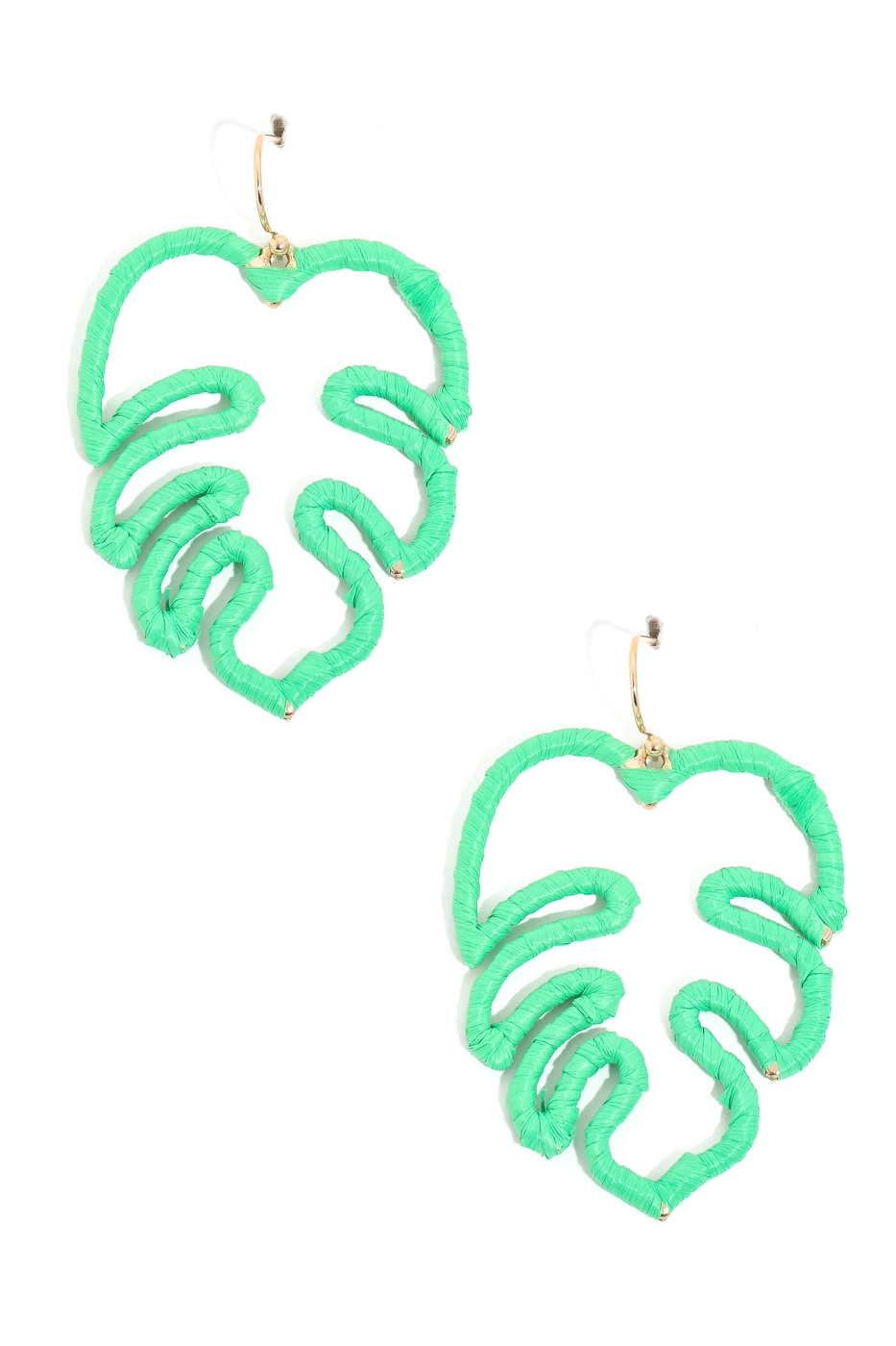 Green Monstera Leaf Earrings - orangeshine.com