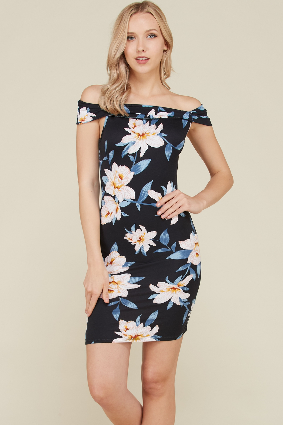 OFF SHOULDER BRUSHED DTY PRINT DRESS - orangeshine.com