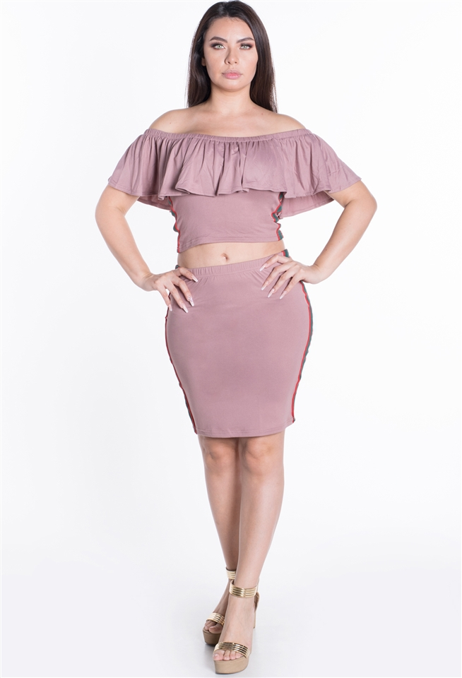 Ruffled Off Crop Top Skirt 2PC Set - orangeshine.com