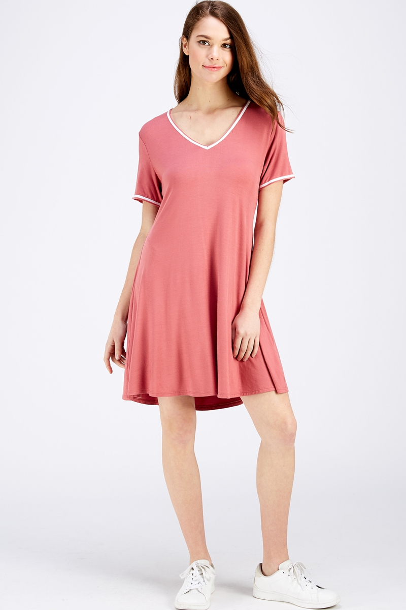 Short Sleeve Fit and Flare V Neck Kn - orangeshine.com