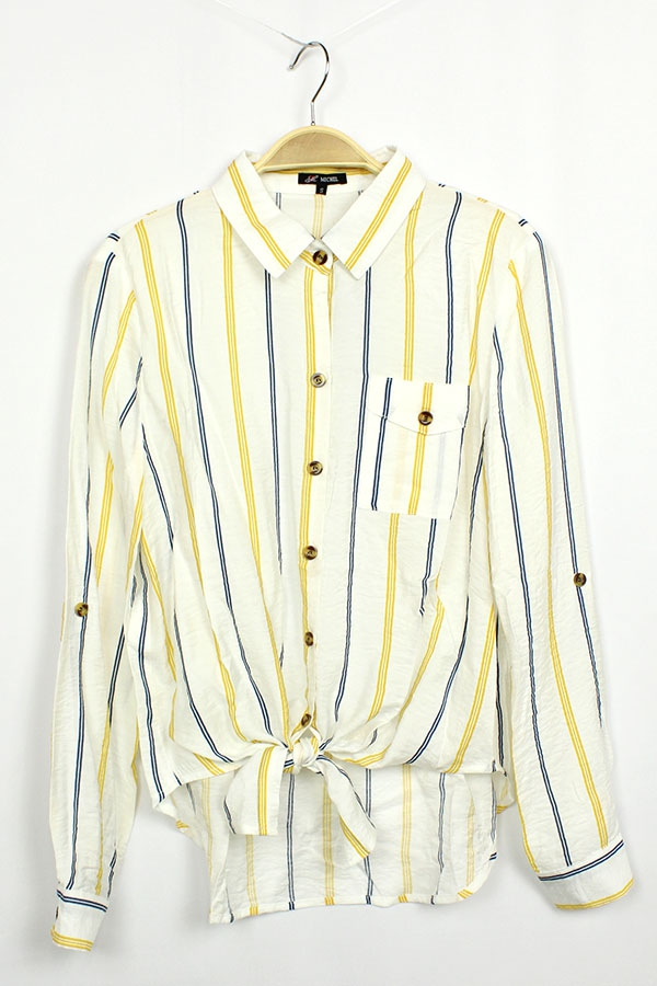 Striped Button Down Long Sleeve  - orangeshine.com