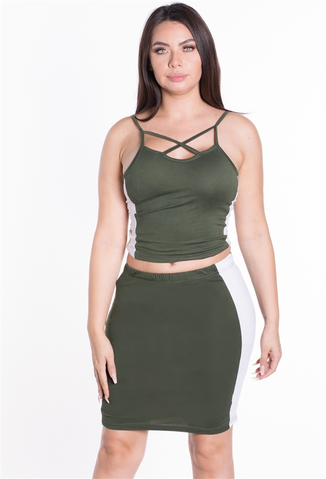 Strappy Crop Top Skirt 2PC Set - orangeshine.com
