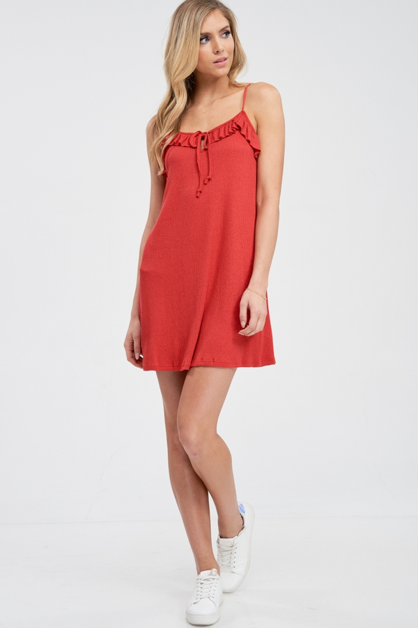 RIBBED CAMI DRESS WITH RUFFLE TIE  - orangeshine.com