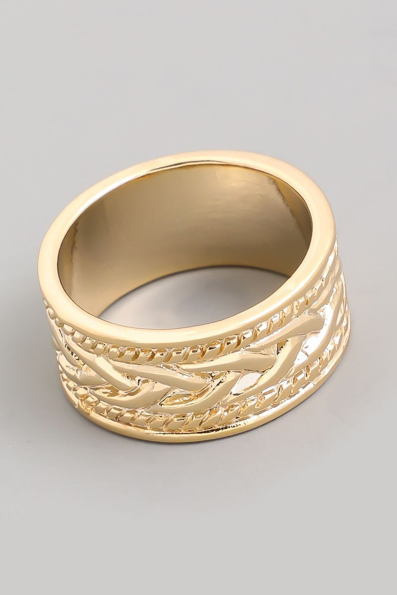 Wide Rope Texture Metal Ring - orangeshine.com