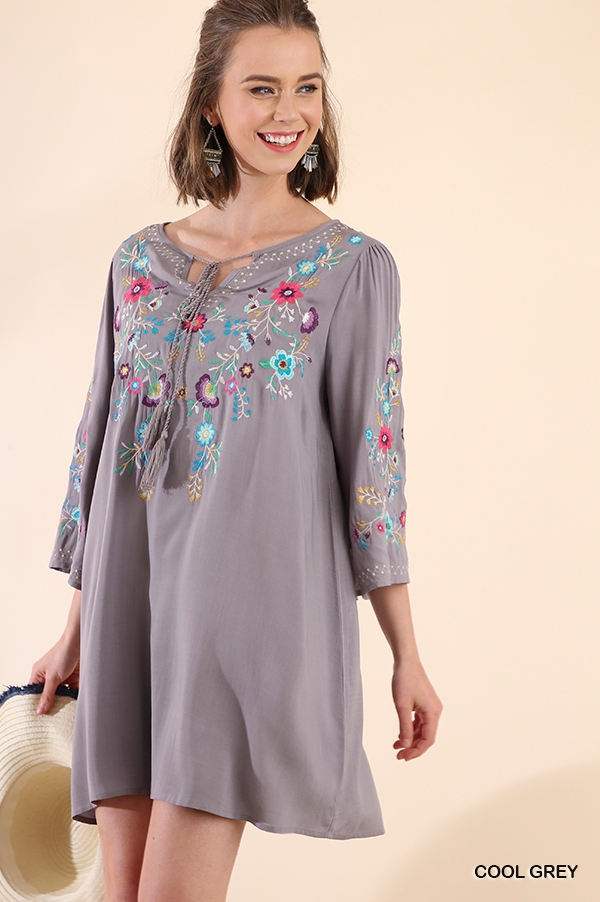 Floral Embroidered Dress with Tassel - orangeshine.com