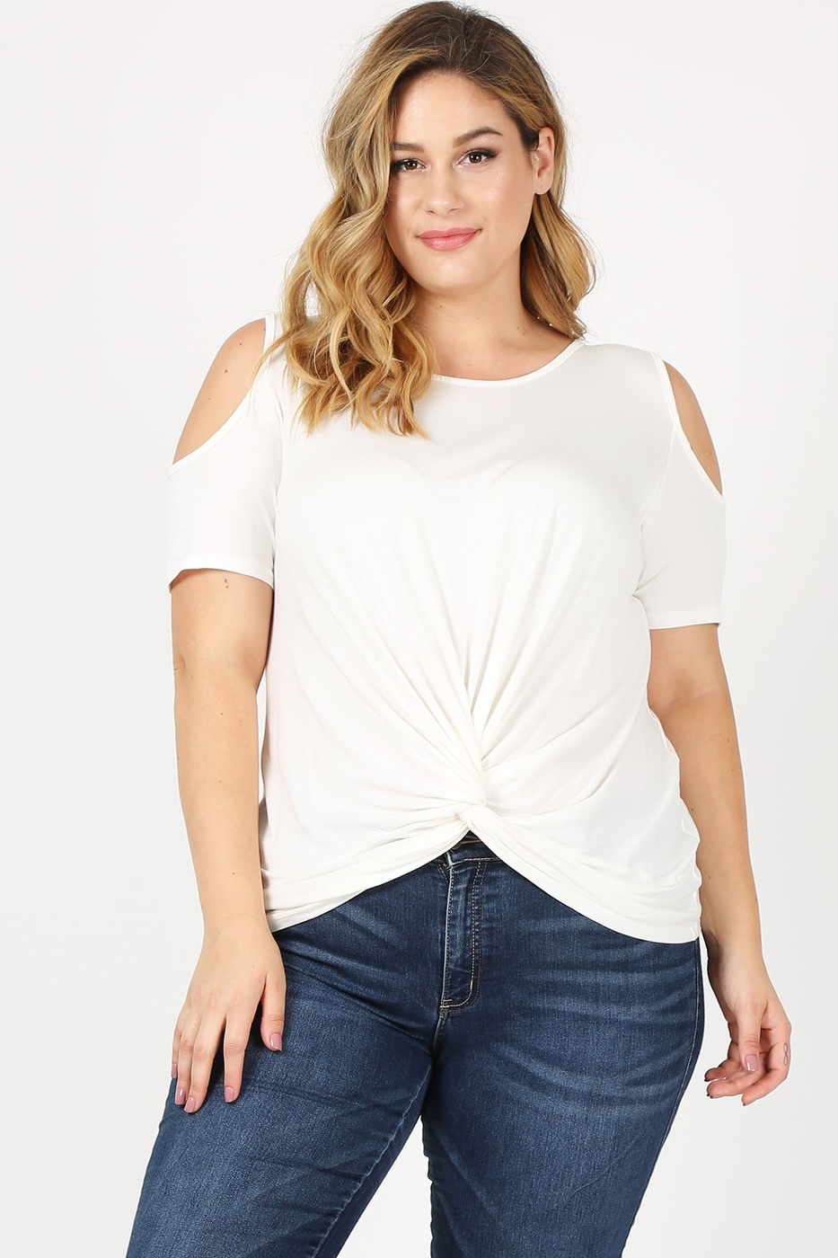 Plus Size Cold Shoulder Twist Knot T - orangeshine.com