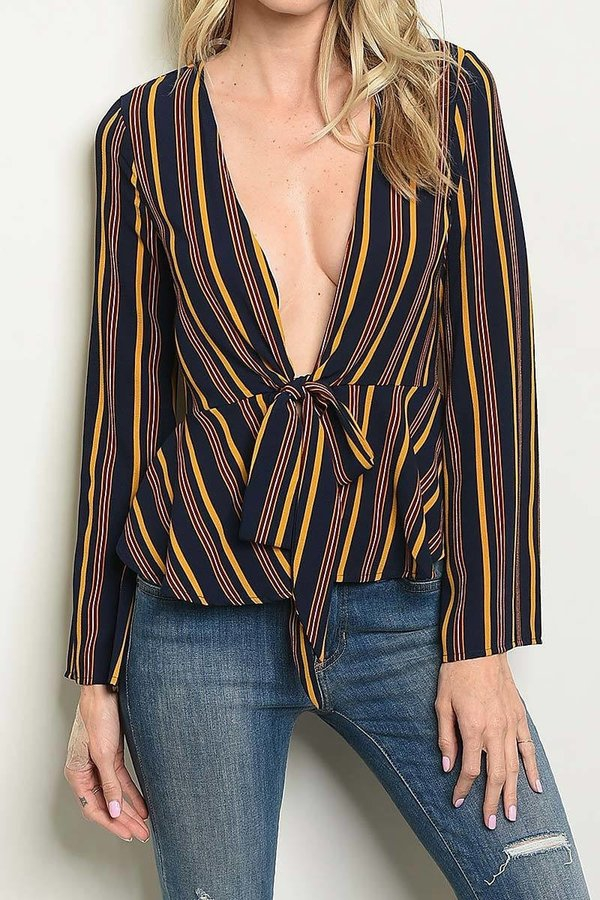 STRIPE WAIST TIE BLOUSE TOP - orangeshine.com