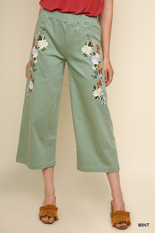 High Waisted Floral Embroidered Pant - orangeshine.com