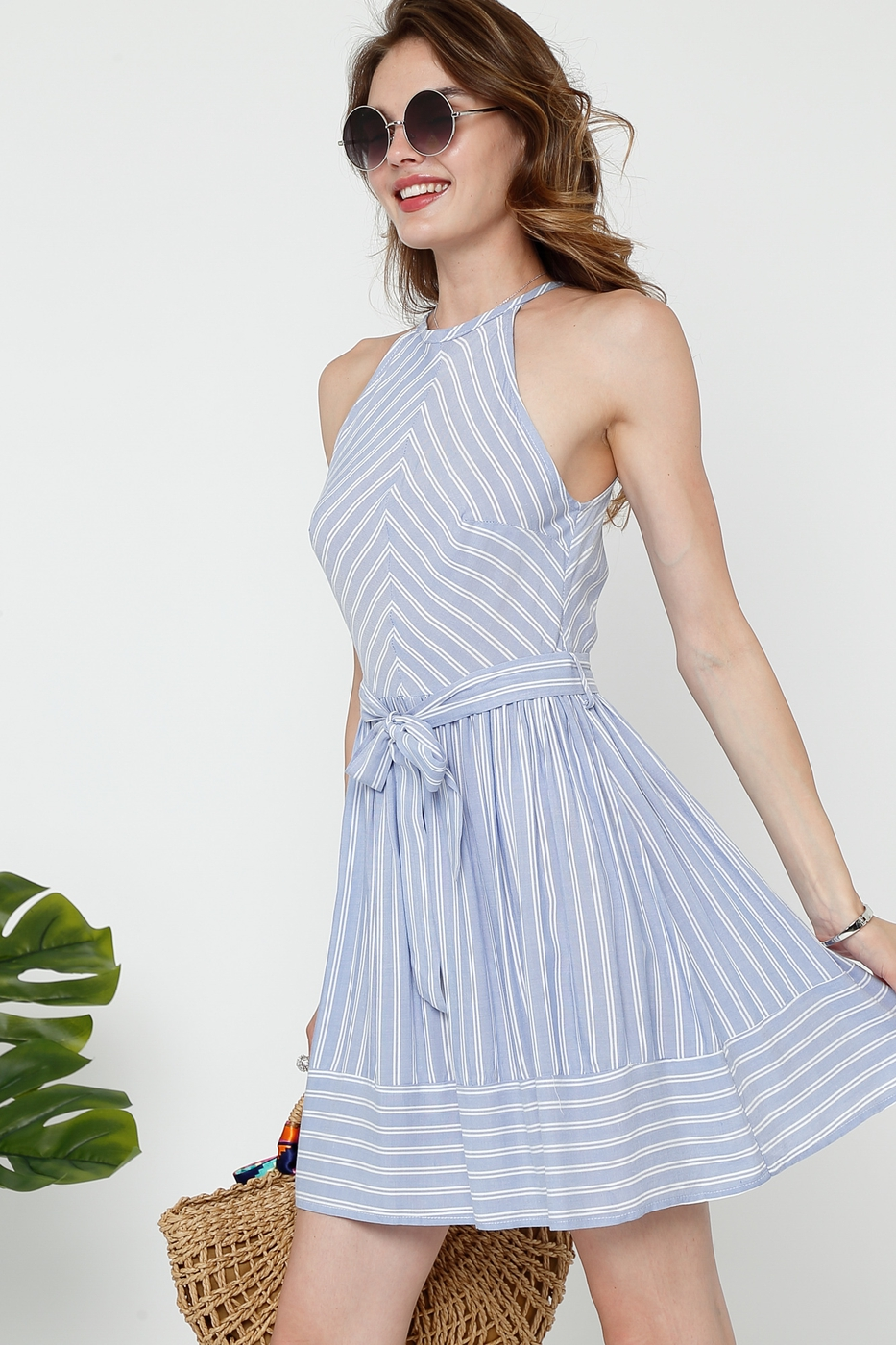HALTER STRIPED A LINE DRESS - orangeshine.com