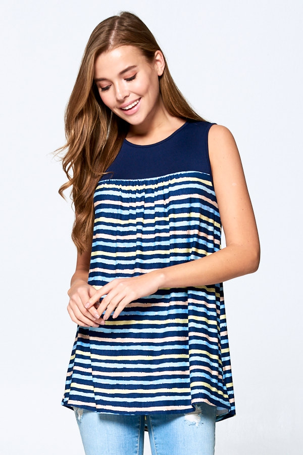 Multicolor Stripe Tunic - orangeshine.com