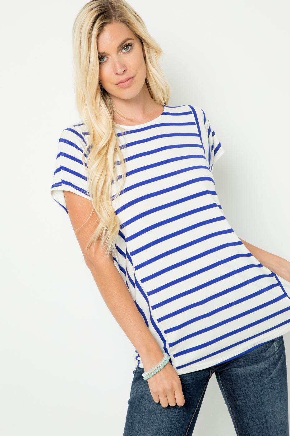 Stripped Short Sleeve Top with Butto - orangeshine.com