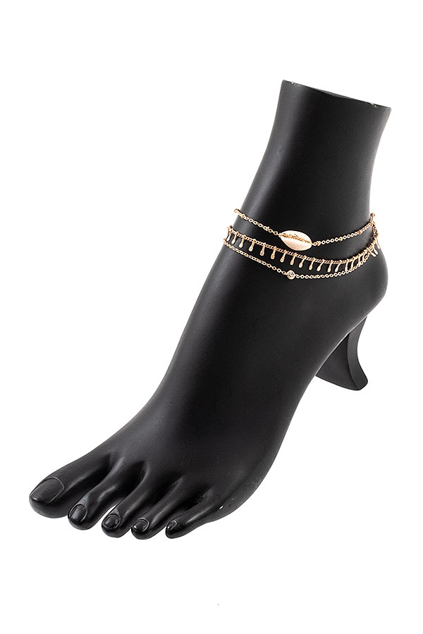 MULTI CHAIN SHELL ACCENT ANKLET - orangeshine.com