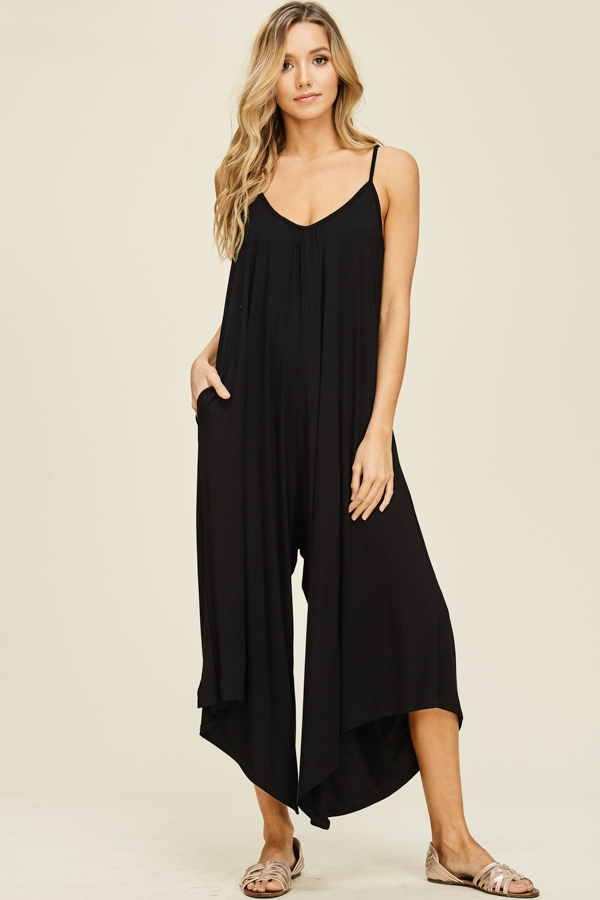Sleeveless Uneven Cropped Jumpsuit - orangeshine.com