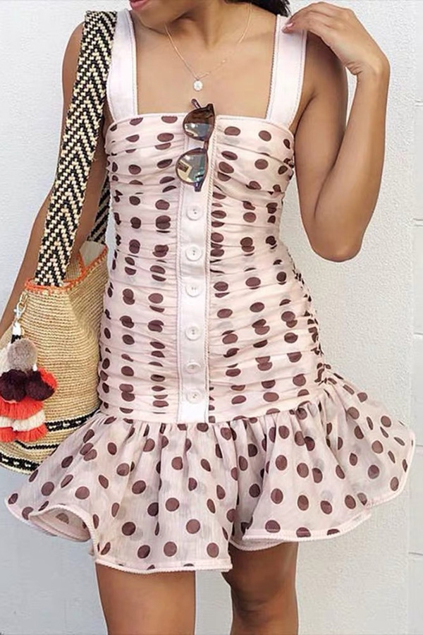 POLKA DOT PLEATED MINI DRESS - orangeshine.com