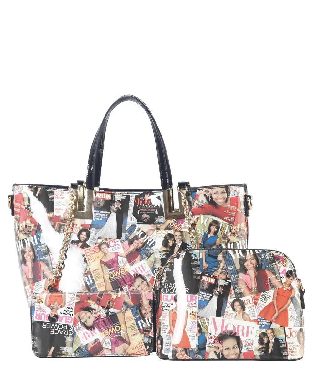 Magazine Print 3 IN 1 Tote bag - orangeshine.com