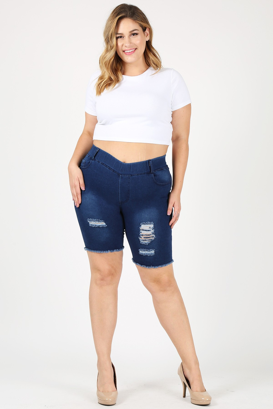 Hi-Waist Distressed Bermudas Short J - orangeshine.com