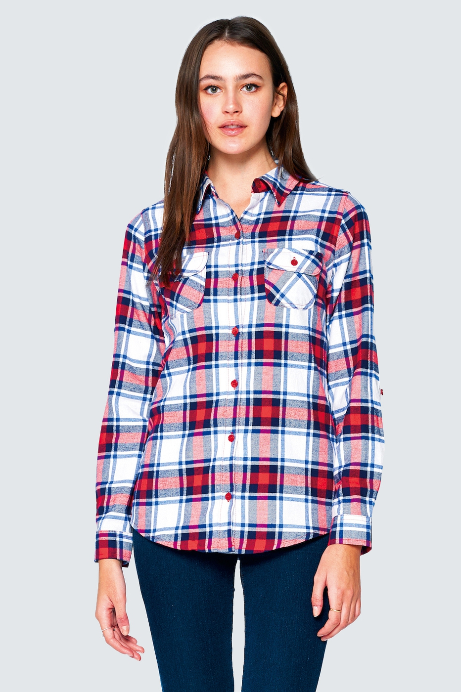 PLAID LONG SLEEVE FLANNEL SHIRT  - orangeshine.com