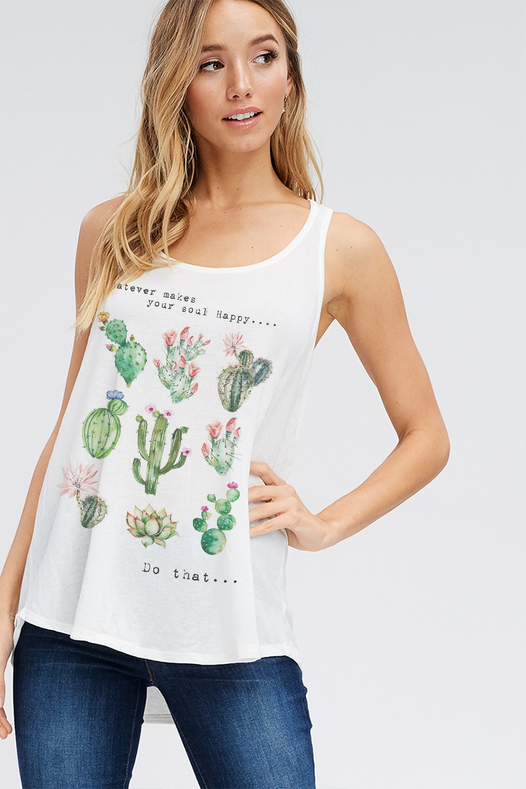 Cactus with lettering tank top - orangeshine.com