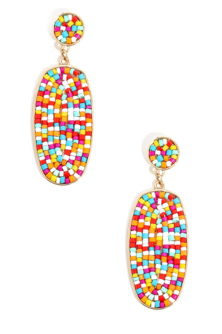 Beaded Oval Drop Dangle Earrings - orangeshine.com
