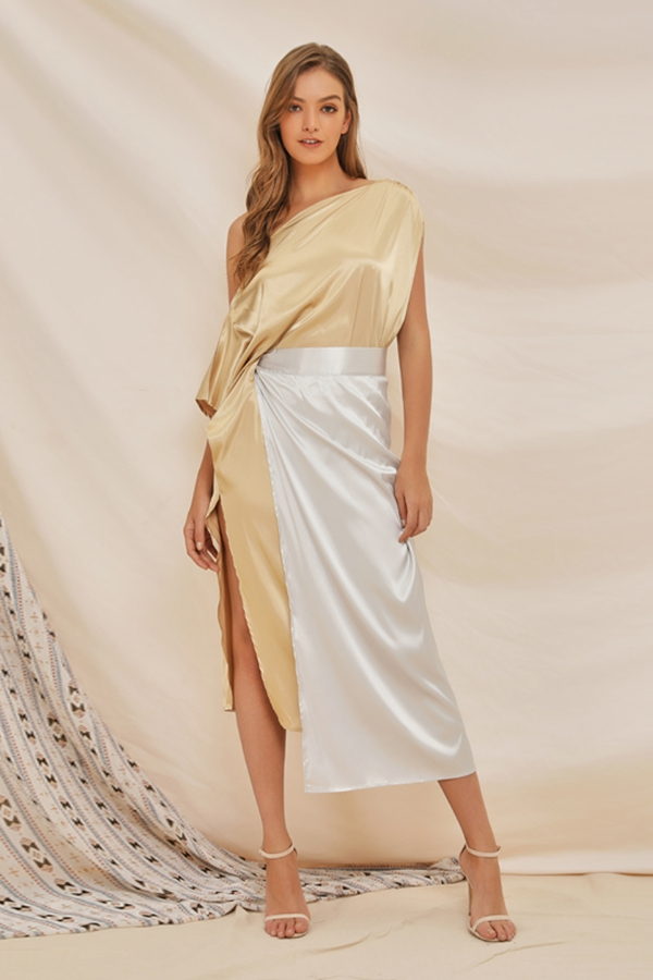 One Shoulder Wrap Side Slit Maxi D - orangeshine.com