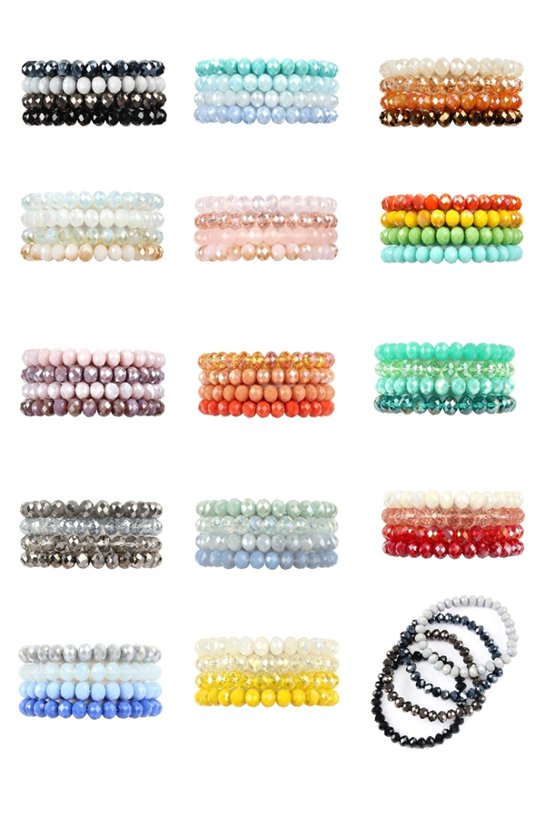 LINE CRYSTAL BEADS STRETCH BRACELET - orangeshine.com