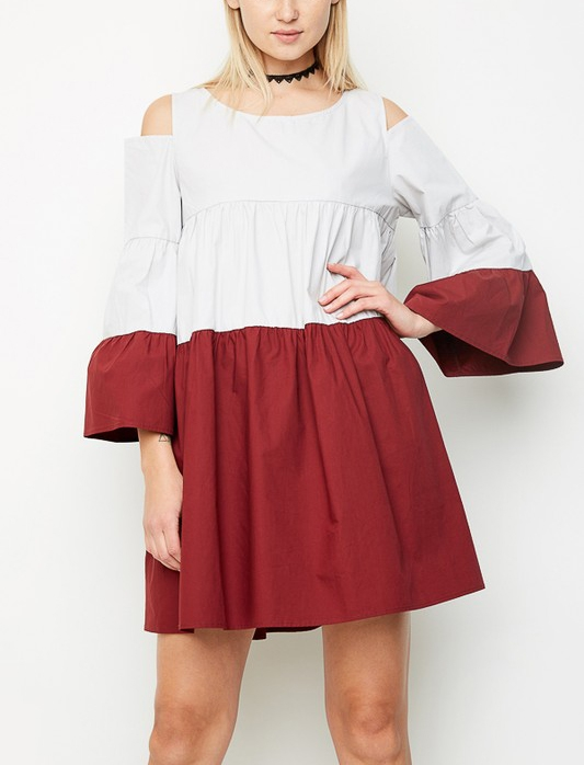 Cold Shoulder Poplin Dress - orangeshine.com