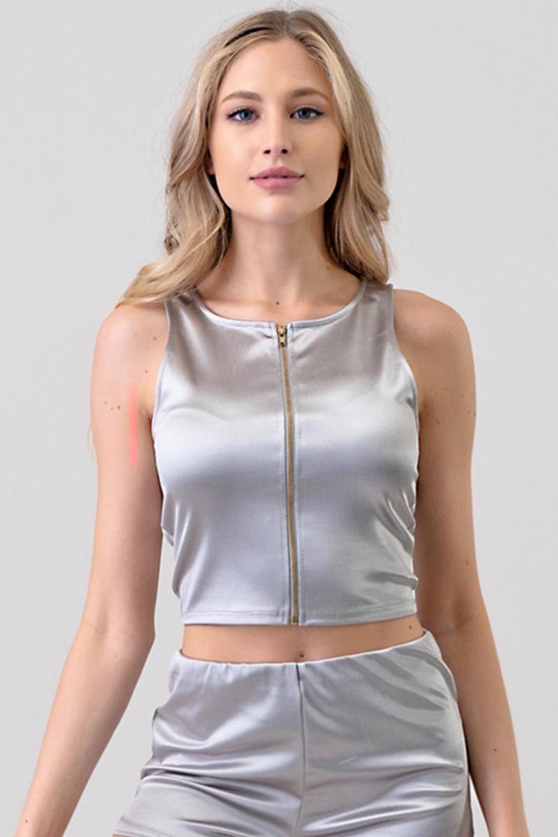 SATIN JERSEY ZIPPER TANK TOP - orangeshine.com