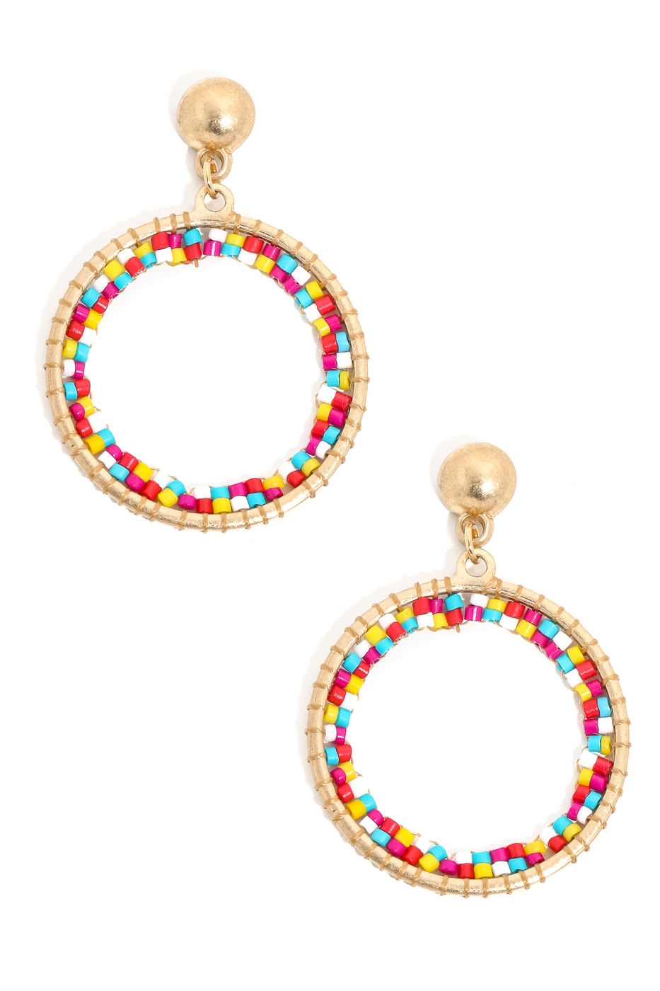 Mini Beaded Hoop Drop Earrings - orangeshine.com
