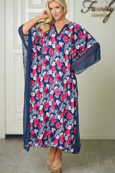 Mesh sleeve v-neck floral maxi dress - orangeshine.com