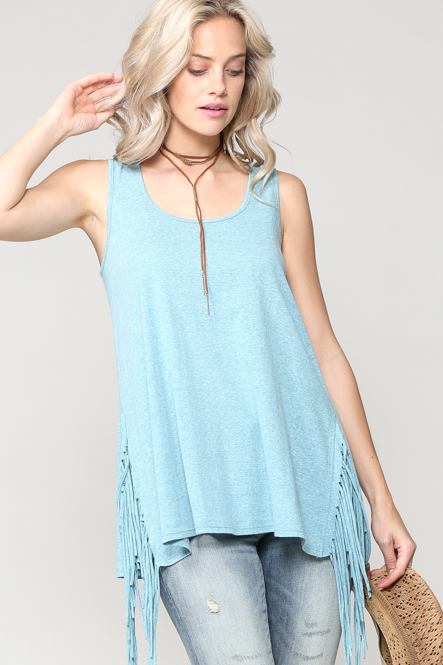SLEEVELESS SIDE FRINGES CASUAL TOP - orangeshine.com
