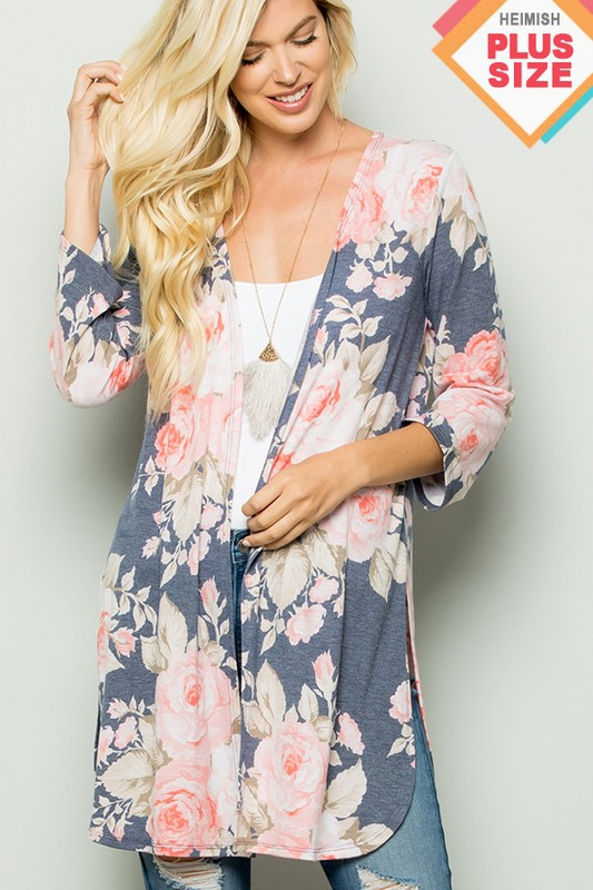 FLORAL KIMONO WITH SIDE SLIT PLUS - orangeshine.com