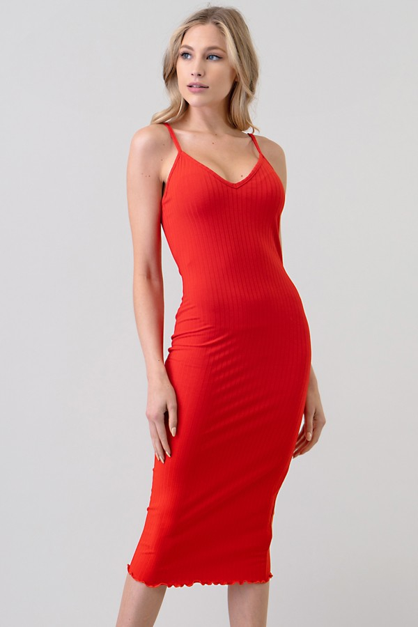 V-NECK MERROW BOTTOM RIB MIDI DRESS - orangeshine.com