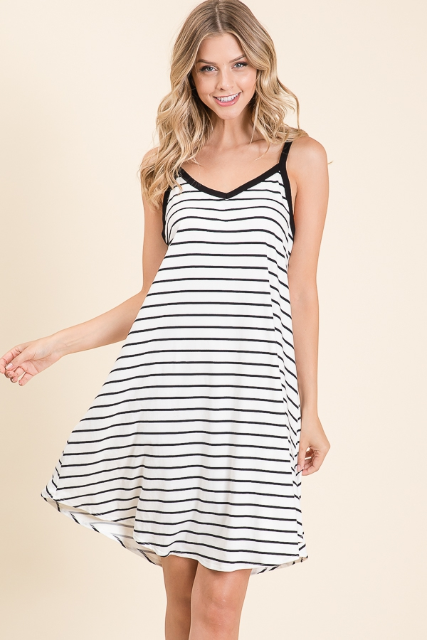 SLEEVELESS STRIPE SWING DRESS - orangeshine.com