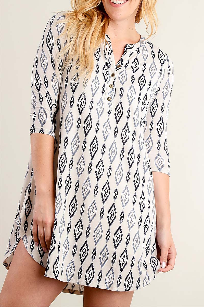 TRIBAL PRINT TUNIC DRESS - orangeshine.com
