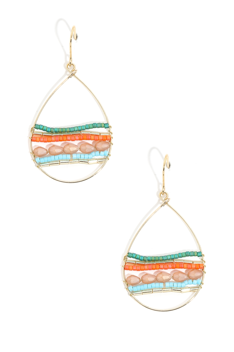 Boho Beaded Tear Drop Hook Earrings - orangeshine.com