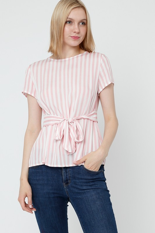 Belted Stripe Top - orangeshine.com