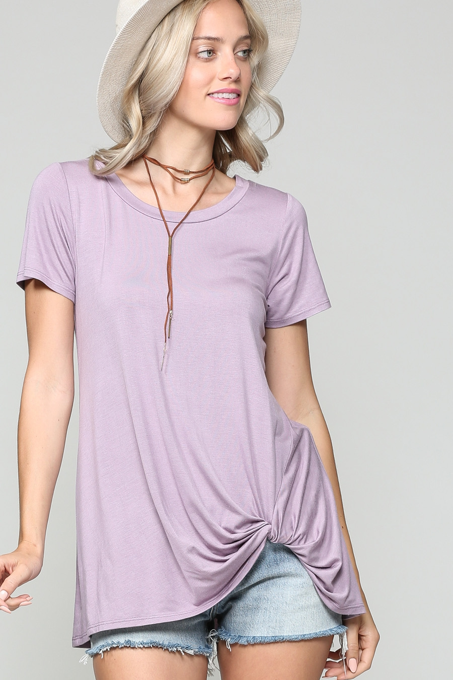 SHORT SLEEVE LOOSE FIT LONG TUNIC - orangeshine.com