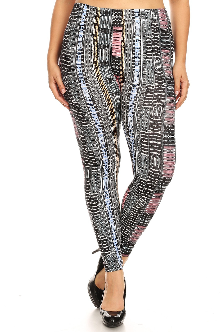 Plus Size Print Leggings Soft Boho - orangeshine.com