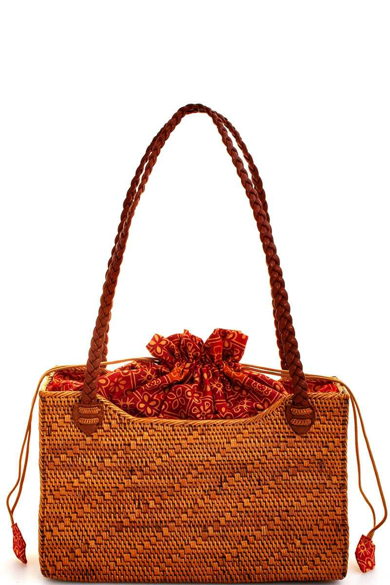 NATURAL FIBER WOVEN RECTANGLE TOTE  - orangeshine.com