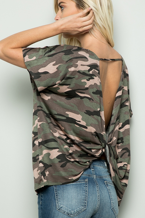 CAMO TOP WITH TWIST OPEN BACK - orangeshine.com