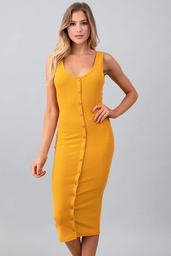 SCOOP FRONT BUTTON MIDI DRESS - orangeshine.com