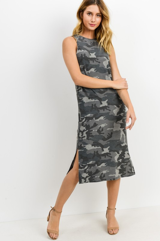 Camouflage French Terry Midi Dress - orangeshine.com
