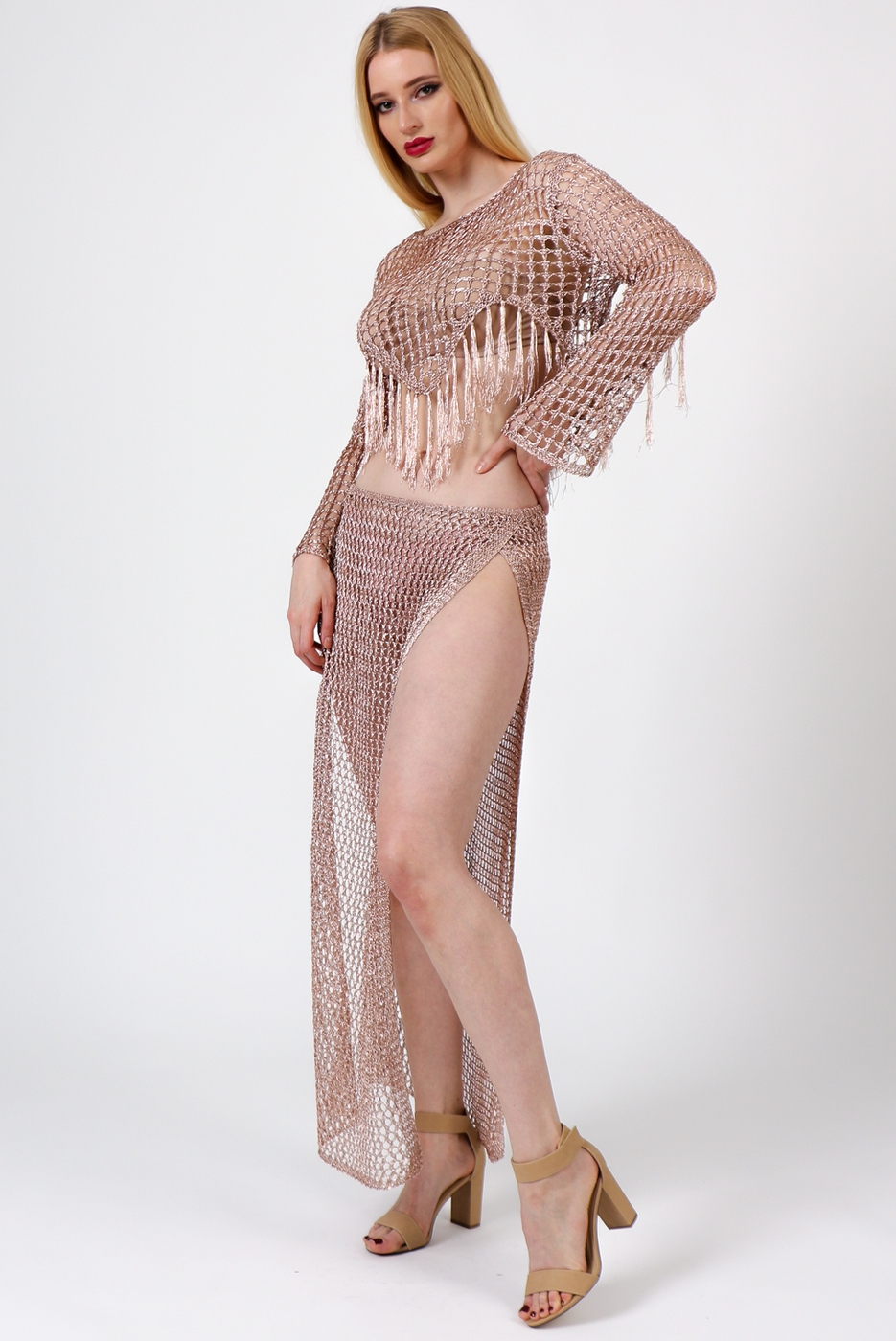 Metallic Fish Net Two Piece Set - orangeshine.com